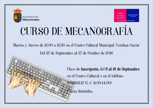 Cartel curso mecanografía